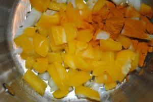 Step 1- frying pepper, onion and tumeric
