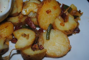 Home Fries with Chorizo and Green Pepper