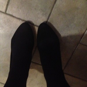 Black tights, black shoes, ready for action